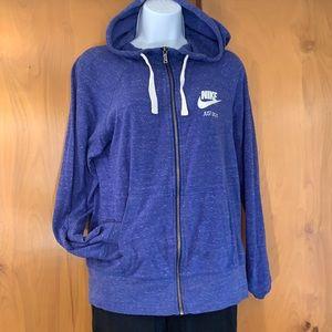 Nike gym vintage zip hoodie Sz M in obsidian blue